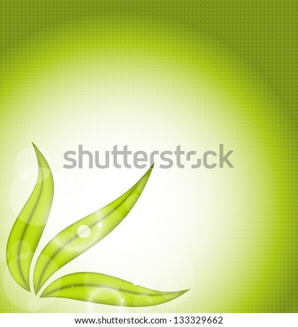 Illustration nature background with green leaves - vector