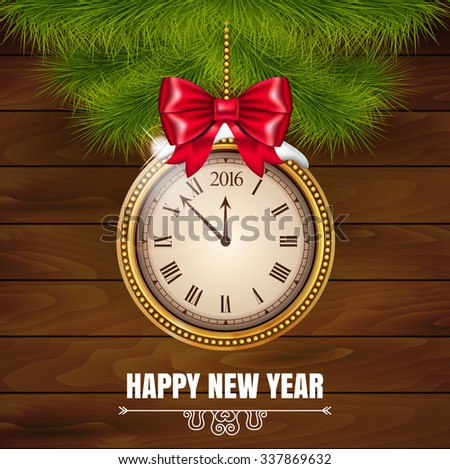Illustration New Year Midnight 2016 Glowing Background with Clock  on the wood background. Vector illustration. - stock vector