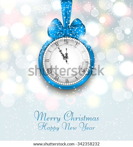 Illustration New Year Midnight Shimmering Background with Clock - Vector - stock vector