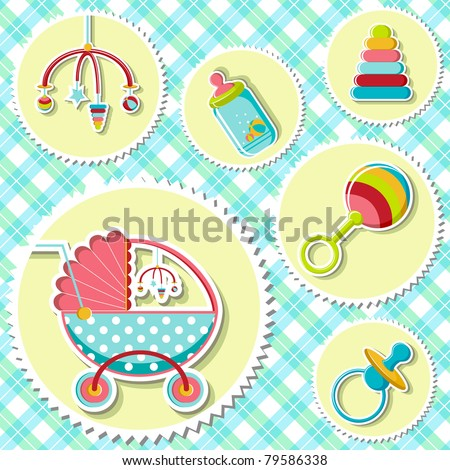illustration o baby related item on checked background - stock vector