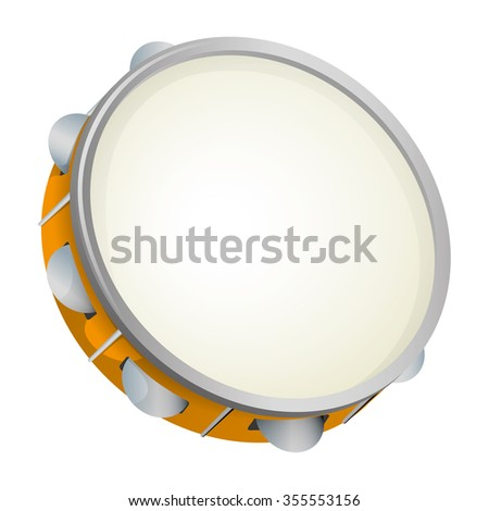 Illustration object musical instrument, tambourine, samba. Ideal for educational material and institutional support - stock vector