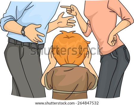 Illustration of a a Little Boy Despairing Over His Fighting Parents - stock vector