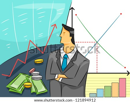 Illustration of a a Man in Business Attire Studying Graphs and Charts - stock vector