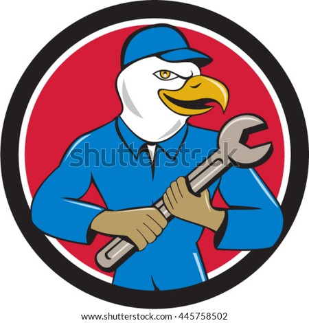 Illustration of a american bald eagle mechanic looking to the side holding spanner  viewed from front set inside circle on isolated background done in cartoon style.