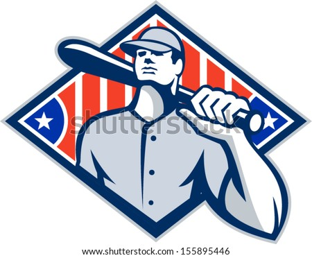 Illustration of a american baseball player batter hitter holding bat on shoulder set inside diamond shape with stars and stripes done in retro style isolated on white background. - stock vector