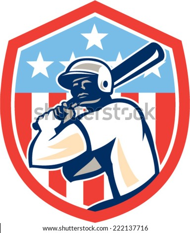 Illustration of a american baseball player batter hitter holding bat set inside shield crest with stars and stripes in the background done in retro style.