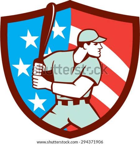 Illustration of a american baseball player batter hitter holding bat viewed from the side set inside shield crest with usa flag stars and stripes in the background done in retro style. - stock vector
