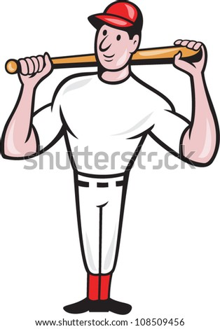 Illustration of a american baseball player batting bat on shoulder cartoon style isolated on white background. - stock vector