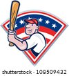 Illustration of a american baseball player batting cartoon style isolated on white with stars and stripes set inside fan shape. - stock vector