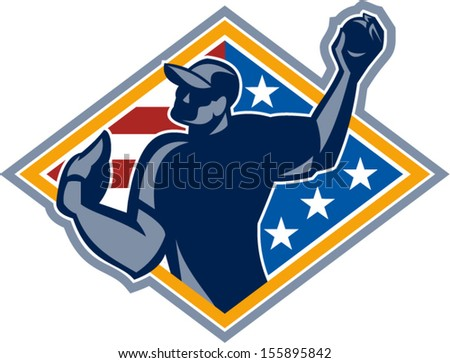 Illustration of a american baseball player outfilelder throwing ball isolated on white background. - stock vector