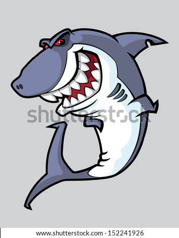 illustration of a angry shark - stock vector