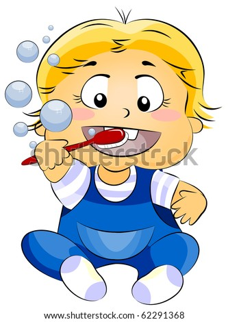 Illustration of a Baby Brushing His Teeth - Vector - stock vector