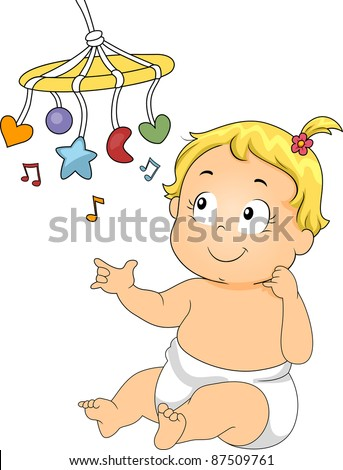 Illustration of a Baby Playing with a Musical Toy - stock vector