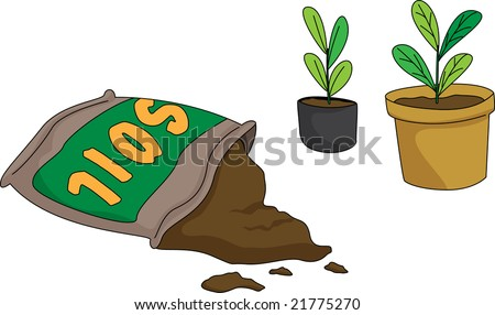 Illustration bag soil pots stock vector 21775270 for Soil clipart