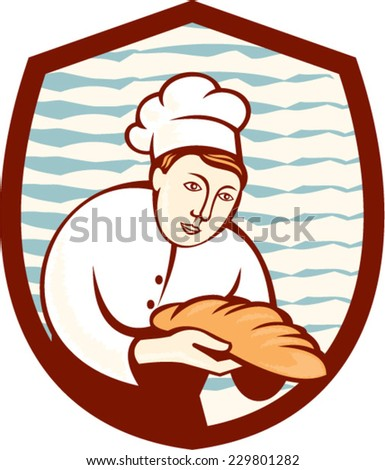 Illustration of a baker chef cook holding loaf of bread set inside shield done in retro style. - stock vector