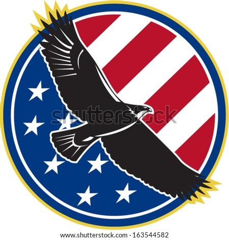 Illustration of a bald eagle soaring flying with american USA stars stripes flag set inside circle on isolated background done in retro style. - stock vector