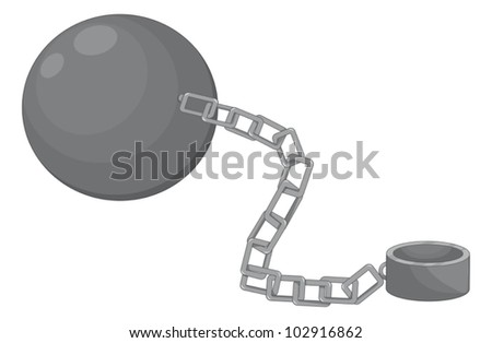 Illustration of a ball and chain - stock vector