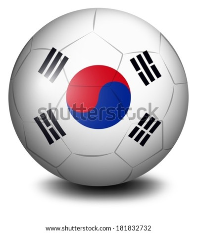 Illustration of a ball with the flag of South Korea on a white background - stock vector