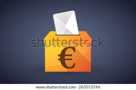 Illustration of a ballot box with a vote and an euro sign - stock vector
