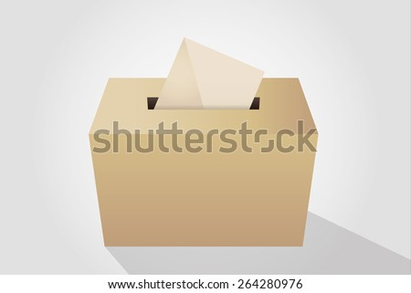 Illustration of a ballot box with an envelope, white background - stock vector