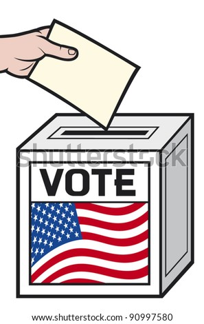 illustration of a ballot box with the flag of the united states of america. (hand putting a voting ballot in a slot of box). - stock vector