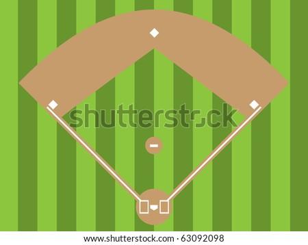 Illustration of a baseball diamond (an overhead view) - stock vector