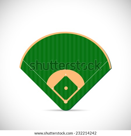 Illustration of a baseball field design isolated on a white background. - stock vector