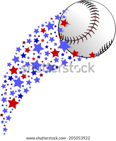 illustration of a baseball or softball being propelled by a field of red white and blue stars. - stock vector