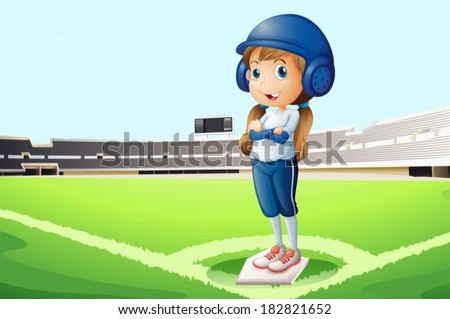 Illustration of a baseball player at the court - stock vector