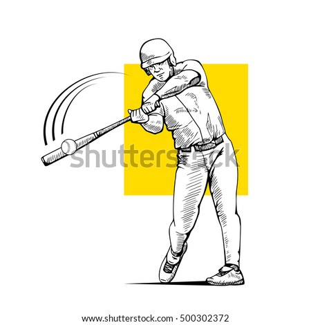 Illustration of a baseball player with bat hitting the ball. Beautiful sport themed poster. Team game, summer sports, baseball batter, line drawing. Vector illustration