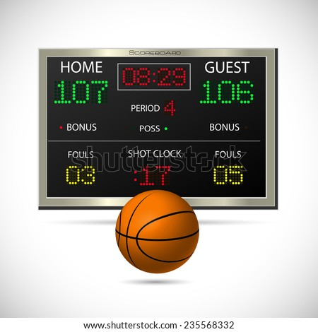 Illustration of a basketball and scoreboard isolated on a white background. - stock vector