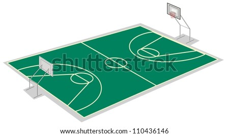 illustration of a basketball court on a white