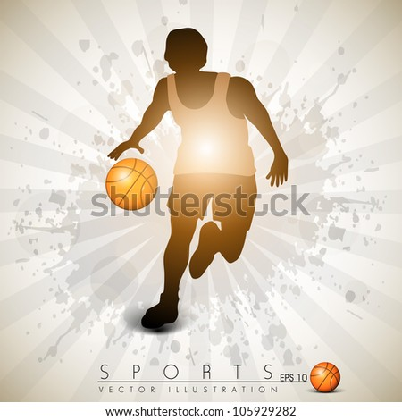 Illustration of a basketball player practicing with ball  on colorful shiny abstract grungy background. EPS 10. - stock vector