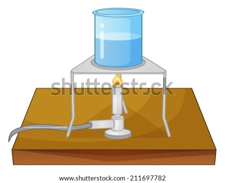 Illustration of a beaker and a burner - stock vector