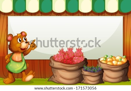 Illustration of a bear at the market with an empty template at the back - stock vector