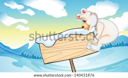 Illustration of a bear beside the empty wooden signboard - stock vector