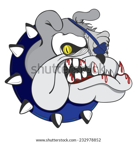 Illustration of a beastly scary pirate zombie bulldog with bloody teeth wearing a blue eyepatch.