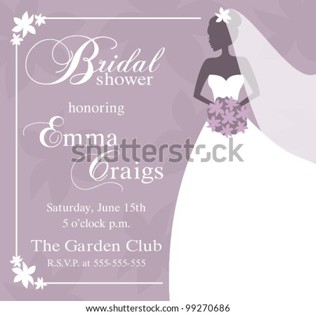 Illustration of a beautiful bride holding a bouquet. Bridal shower/wedding invitation template. - stock vector