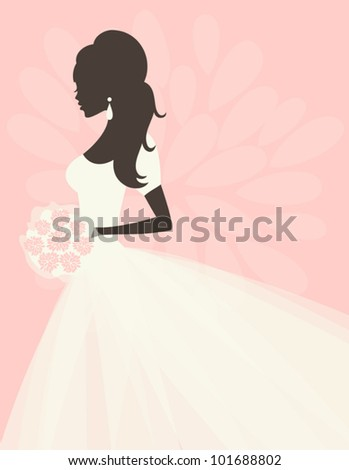 Illustration of a beautiful bride holding flowers. EPS 10 file. - stock vector