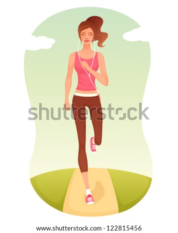 illustration of a beautiful cartoon girl jogging - stock vector
