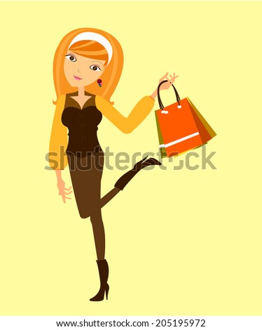 illustration of a beautiful cartoon girl shopping. - stock vector