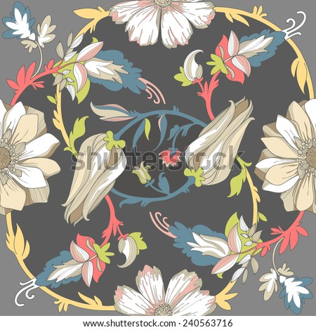 Illustration of a beautiful elegant contrasting floral pattern, with a high degree of detail. Circular ligature colored flowers on a dark dramatic background. - stock vector