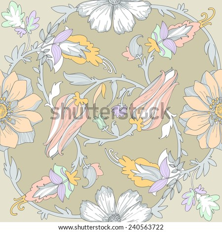 Illustration of a beautiful elegant floral pattern in pastel colors with a high degree of detail. Circular ligature delicate emerald blue pink yellow flowers and leaves on the olive green background. - stock vector