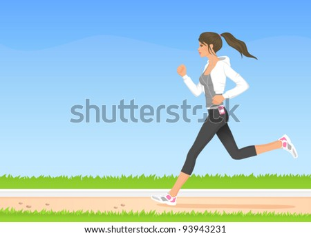 illustration of a beautiful girl in hoodie jogging in the park - stock vector