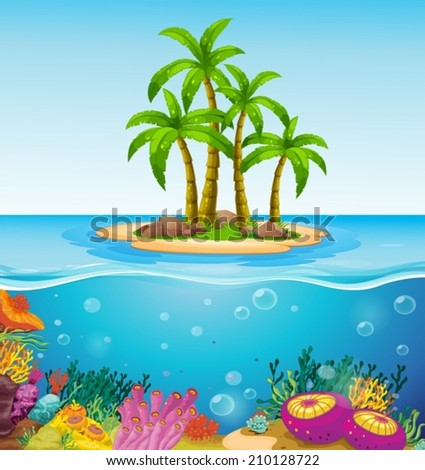 Illustration of a beautiful island in the middle of the sea - stock vector
