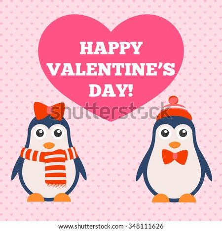 illustration of a beautiful penguin heart on a light background Valentine's Day - stock vector