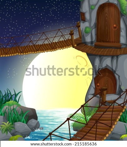 Illustration of a beautiful scenery at the forest - stock vector