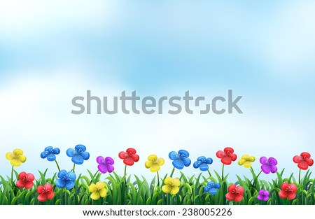 Illustration of a beautiful view of a flower field - stock vector