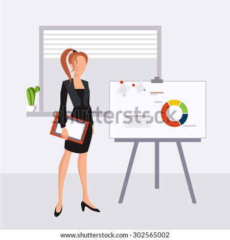 Illustration of a beautiful young business woman presenting with a pointer and board - stock vector