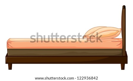 Illustration of a bed on a white background - stock vector